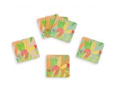 6 posavasos de corcho con impresión tropical ACAPULCO