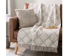Colcha de algodón con motivo jacquard y franjas 160x210 cm TAMA