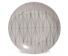 Plato llano de porcelana gris D 27 cm OPALE