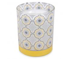Vela perfumada flor de algodón de cristal Al. 8 cm YELLOW COTTON