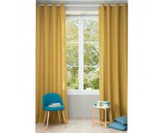 Cortina con ojales de lino lavado amarillo mostaza 130 × 300 cm