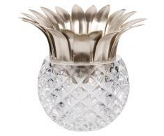 Candelabro den forma de piña de cristal y metal dorado
