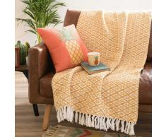 Colcha de algodón con motivos amarillos 160x210 cm CIUDAD