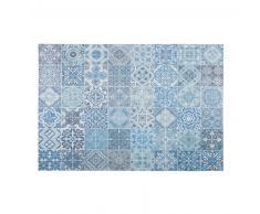 Alfombra con motivos de azulejos de cemento azules 140x200 cm CAPRI