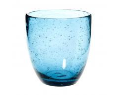 Vaso de cristal con burbujas azul