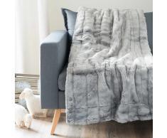 Colcha de imitación de piel gris 150 x 180cm HARMONY