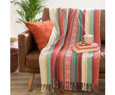 Colcha de algodón multicolor 160x210 cm MEXICO