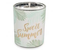 Vela en tarro de cristal con impresión de follaje SWEET SUMMER