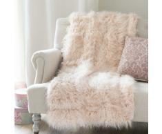Colcha de imitación de piel rosa 130 x 170cm ASTRAKAN BLUSH