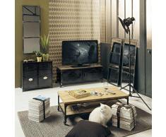 Mueble de TV industrial con ruedas de metal y madera efecto envejecido An. 115 cm Wayne