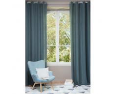 Cortina con ojales de lino lavado azul petróleo 130 × 300cm
