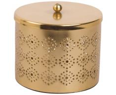 Joyero redondo de metal dorado calado