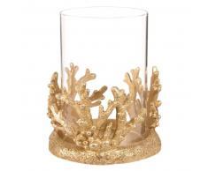 Candelabro coral de cristal y resina dorada