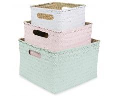 3 cestas cuadradas trenzadas An.16/20/24 cm PASTEL