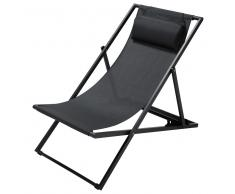 Tumbona/silla de playa plegable de metal antracita L. 104 cm Split