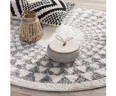 Alfombra redonda de algodón D 90 cm BERBÈRE