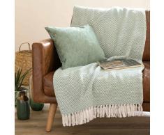 Colcha de algodón verde menta 130x170