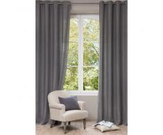 Cortina con ojales de lino lavado gris 130 x 300cm