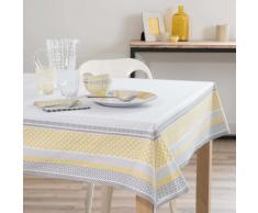 Mantel engomado de algodón amarillo/beis 170 x 170cm FARO