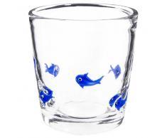 Vaso de cristal con motivo de peces azules