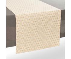 Camino de mesa de algodón blanco/dorado 180 cm QUEENS