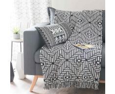 Colcha de algodón negro/blanco 160×210 cm EVORA