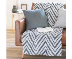 Colcha con estampado en zigzag gris/blanco 130 x 170 cm CORTE