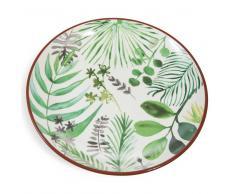 Fuente redonda con motivo vegetal de loza verde D 31 cm PALMIER