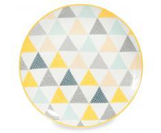 Plato llano de porcelana blanca con triángulos LEMON