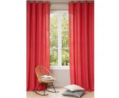 Cortina con ojales de lino lavado rojo 140 x 300cm