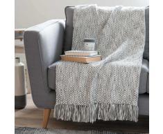 Colcha de algodón con motivos de jacquard gris 130x170 cm GARDANE