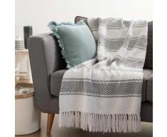 Colcha de algodón blanco con motivos grises 160x210