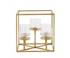 Candelabro portavelas de cristal y metal dorado para 5 velas