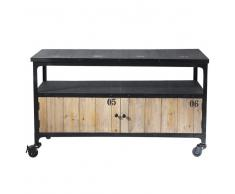 Mueble de TV industrial negro con ruedas de metal y madera An. 110 cm Docks