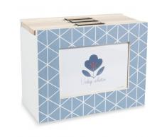 Caja de 3 álbumes de fotos de madera azul CAPRI