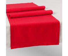 Camino de mesa liso de algodón rojo L. 150 cm