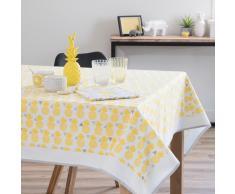 Mantel cuadrado de algodón amarillo 150 x 150 cm PINAPPLE