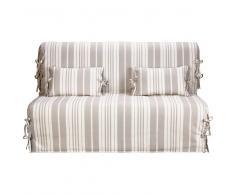 Funda de algodón a rayas beige/marfil para sofá-cama acordeón Elliot