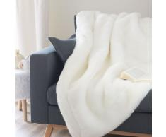 Manta de imitación de piel blanca 150 x 180cm SNOWDOWN