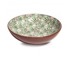 Plato hondo de loza con motivos vegetales D 20 cm PALMIER
