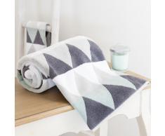 Toalla de baño blanca/gris de algodón 30 × 50cm TRIANGLE