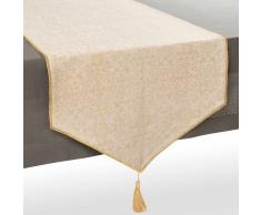 Camino de mesa de algodón beis/dorado An. 150 cm CLARISSE