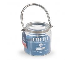Vela-farol perfumada en vaso azul Al. 10 cm CAPRI