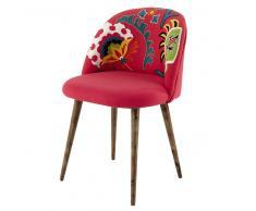 Silla vintage de algodón bordado rosa y madera de sisu Mauricette