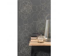 Papel pintado no tejido gráfico gris oscuro H 10,05 m x L 0,53 m GOLDINGER