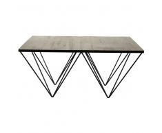 Mesa baja cuadrada de madera reciclada y metal An. 100 cm Diamond