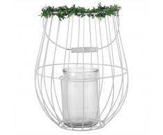 Farolillo de metal blanco y cristal con plantas artificiales