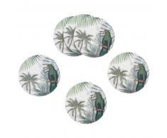 6 posavasos de cristal con estampado tropical