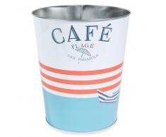 Papelera de metal azul/rojo Al.26cm CAFÉ PLAGE