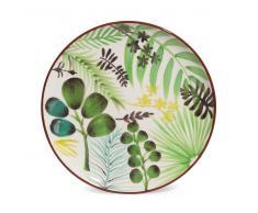 Plato de postre de loza con motivos vegetales D 21 cm JUNGLE